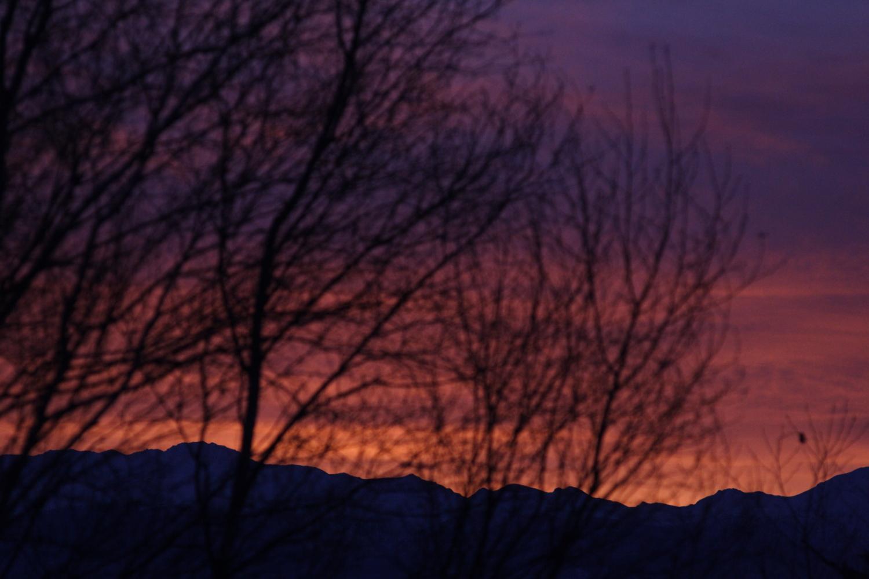 気がつくと、春に向かうにつれ、工房の窓から望む朝陽が南南東から南東に移っていました。